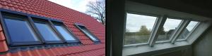 Eingebaute Dachfenster innen und außen